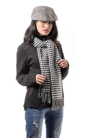Black and White Houndstooth Cashmere Scarf