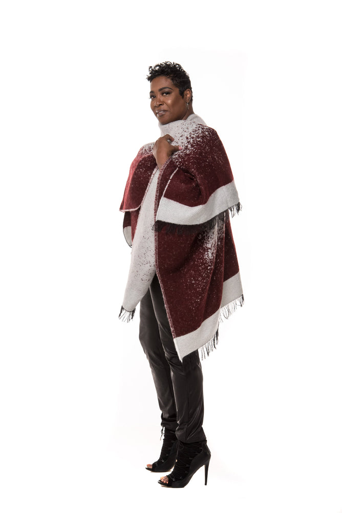 Waverly Wrap Cape- Burgundy/White