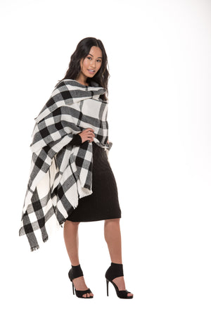 Whitney Off White & Black Plaid Wrap