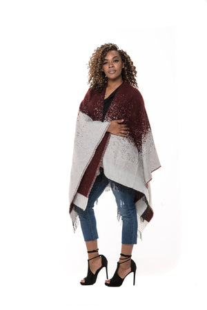 Waverly Wrap Cape- Burgundy/White - Boutique Amore