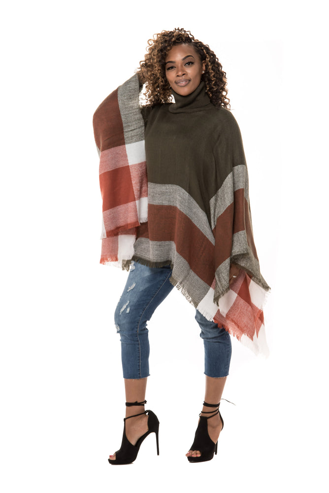 Plaid Turtleneck Pullover Poncho - Boutique Amore