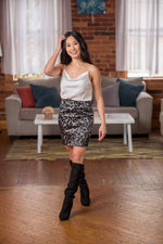 Gia Gray Satin Leopard Print Skirt