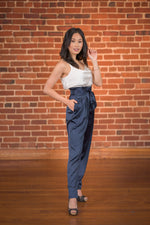 Nia Navy Blue Satin Pants