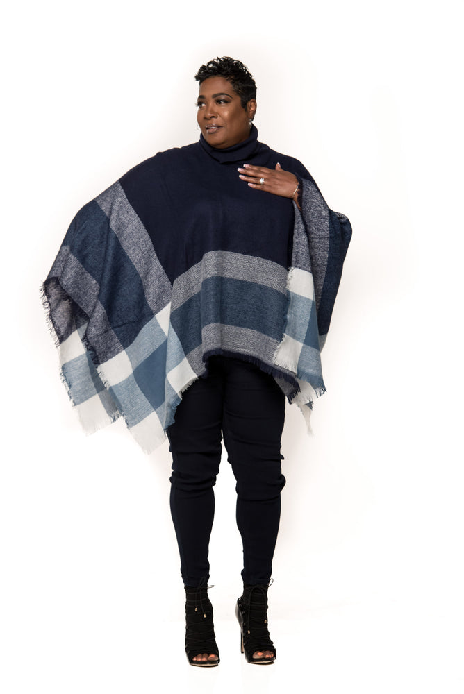 Plaid Turtleneck Pullover Poncho- 3 Colors!