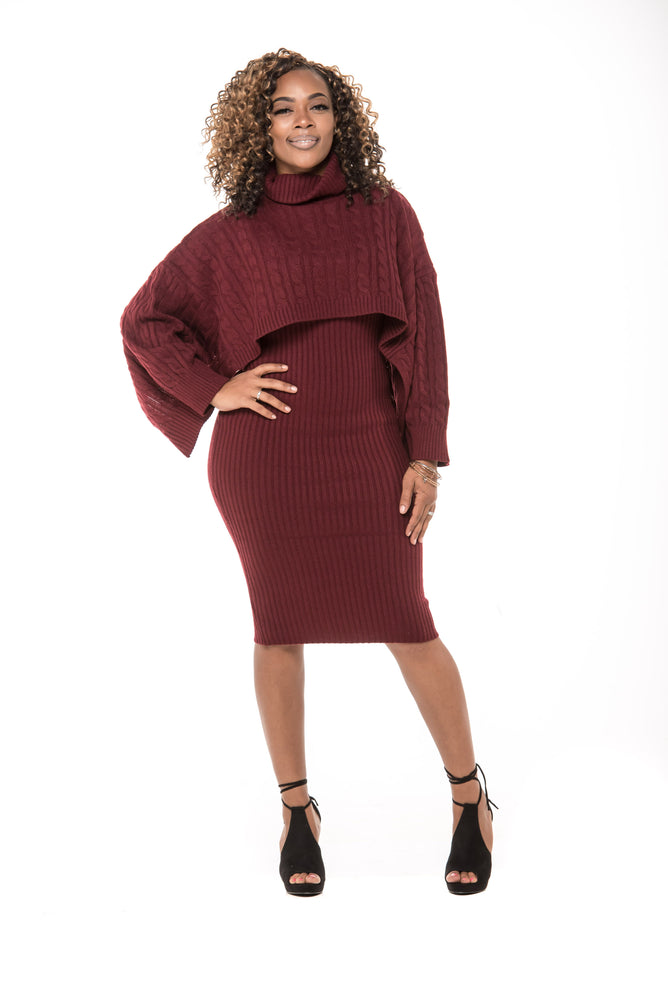 Ciara Sweater Dress- Burgundy