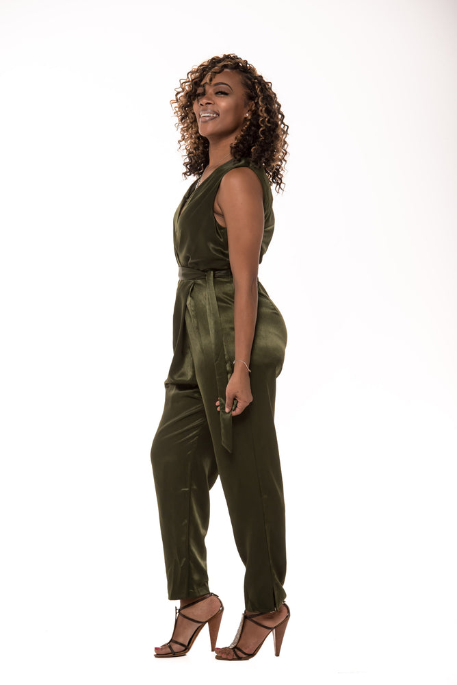 Giselle Olive Green Satin Jumpsuit - Boutique Amore
