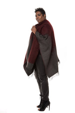 Waverly Wrap Cape- Burgundy/Grey