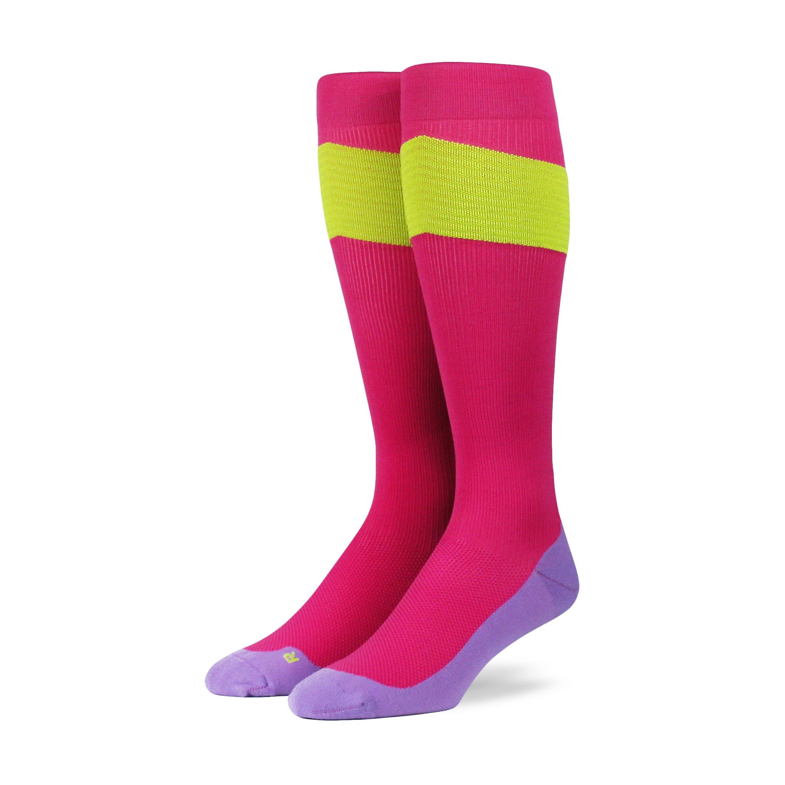 Performance OTC Compression Socks - Pink/Neon Yellow/Lavender