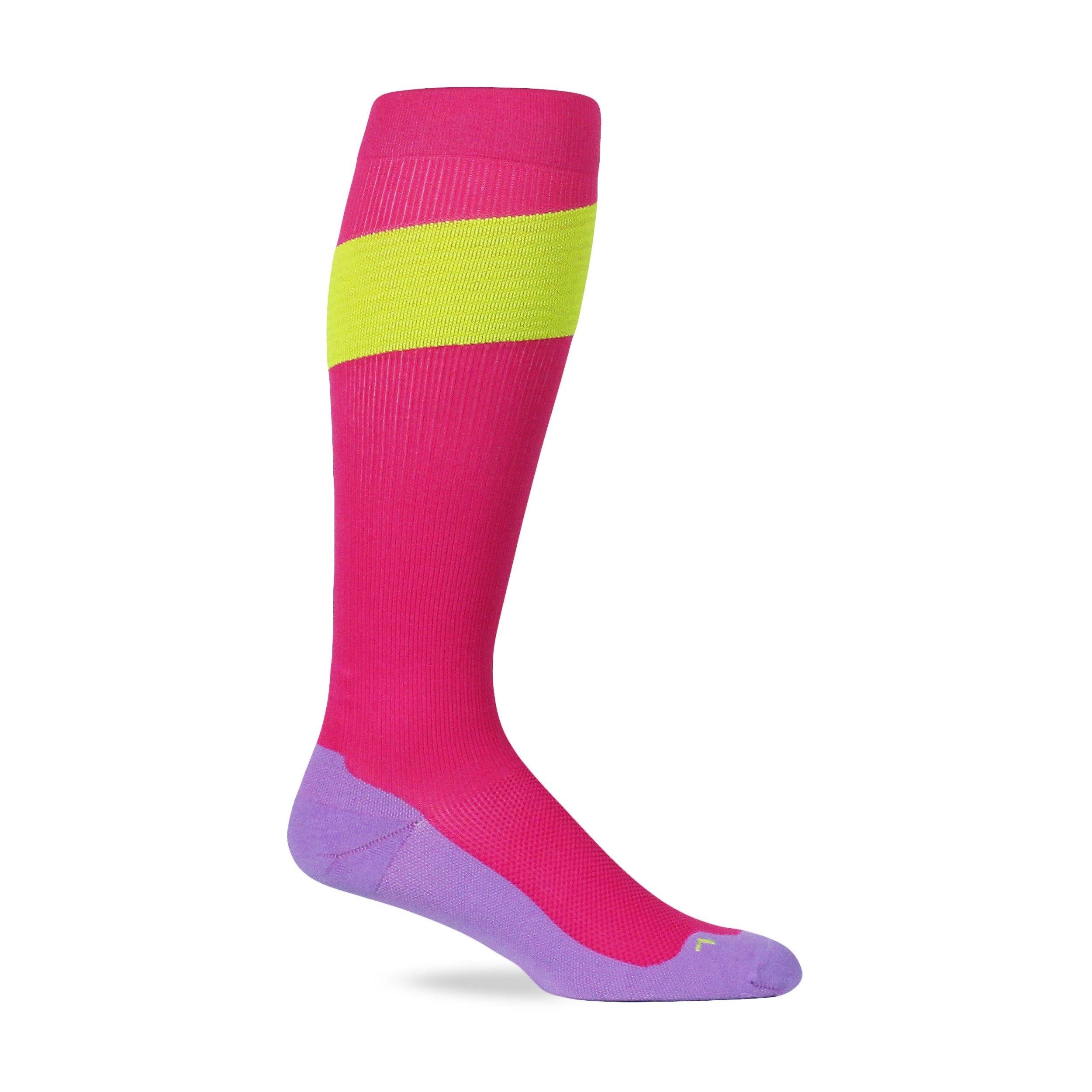 Tiux Performance Compression Socks - Pink/Neon Yellow/Lavender