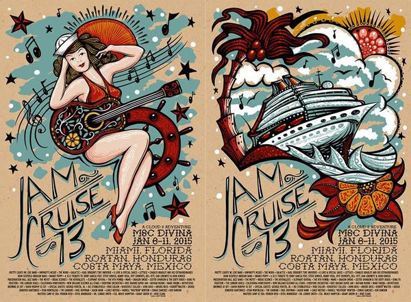 2015 Cloud 9 Adventures Jam Cruise 13 Event Poster Uncuts & Singles - Zen Dragon Gallery