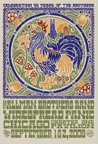 2009 Widespread Panic & The Allman Brothers Chicago Show Poster - Zen Dragon Gallery