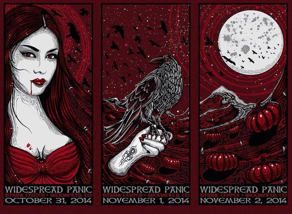2014 Widespread Panic Colorado Halloween Triptych Uncut ALL VARIANTS - Zen Dragon Gallery