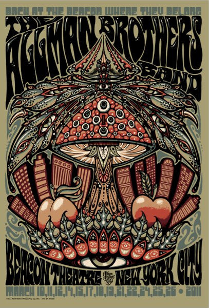 2011 The Allman Brothers Band Beacon Theatre NYC Poster - Zen Dragon Gallery