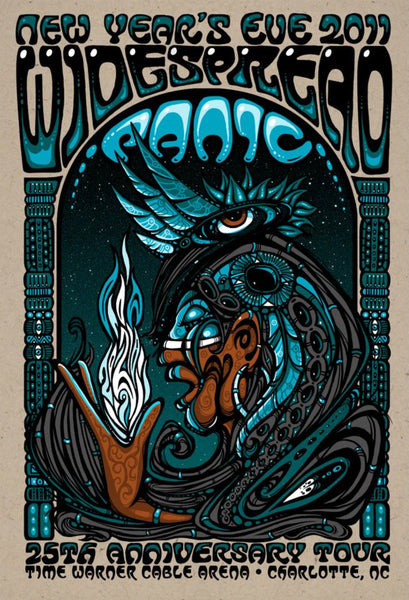 2011 Widespread Panic NYE Charlotte Blue Indian Poster - Zen Dragon Gallery