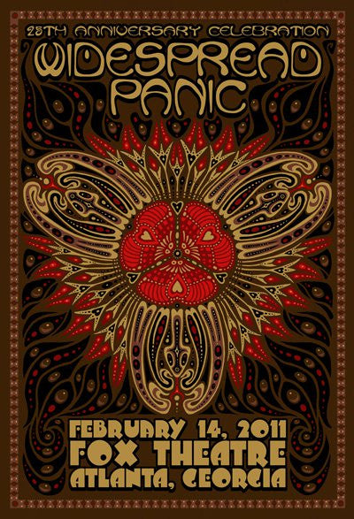 2011 Widespread Panic Atlanta Fox Theatre Valentine's Show Poster - Zen Dragon Gallery