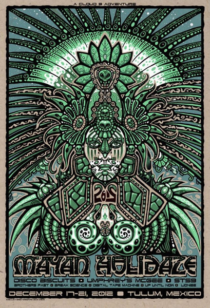 2012 December Mayan Holidaze Poster - Zen Dragon Gallery