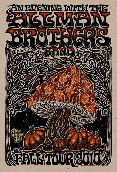 2010 The Allman Brothers Band Fall Tour Poster - Zen Dragon Gallery