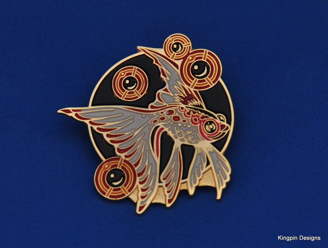 Jeff Wood Drowning Creek Studio Beta Fish Enamel Pin - Zen Dragon Gallery