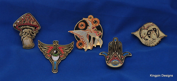 5 PC Set Jeff Wood Zen Mystic/Drowning Creek Studio Pins - Zen Dragon Gallery