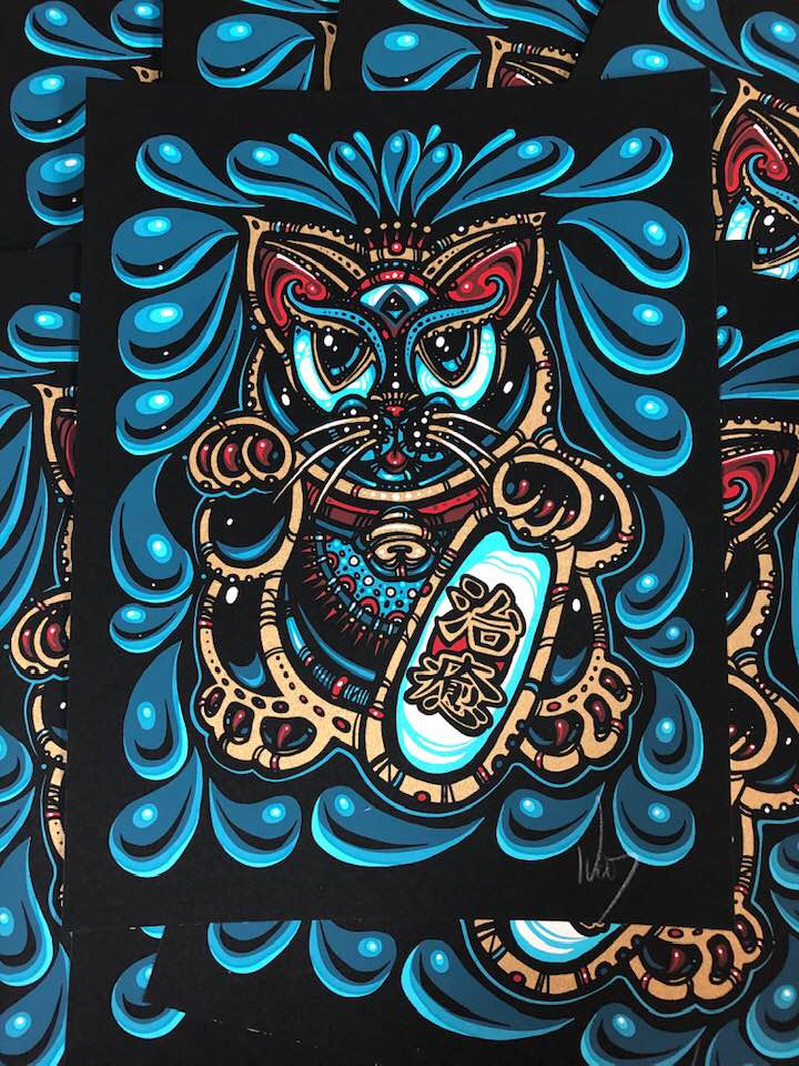 2019  Maneki-Neko Mini Print Tres - Zen Dragon Gallery