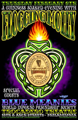 2001 Flogging Molly Philadelphia Litho Show Poster