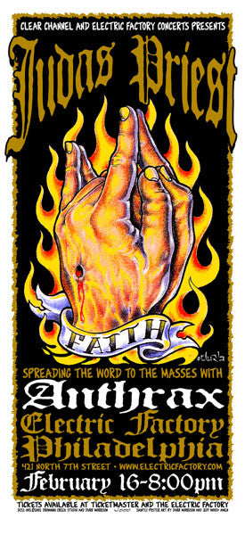 2002 Judas Priest/Anthrax Philadelphia Show Poster or Handbill - Zen Dragon Gallery