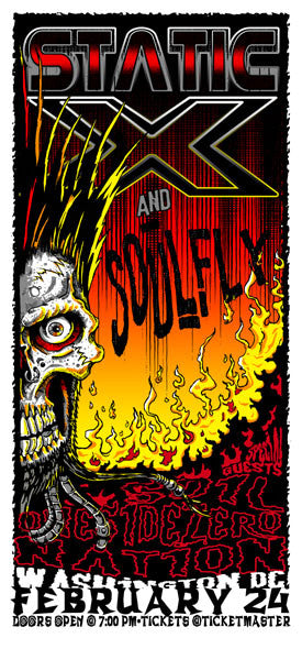 2002 Static X/Soulfly DC Show Poster or Handbill - Zen Dragon Gallery