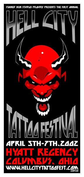 2002 Hell City Tattoo Festival Event Poster or Handbill - Zen Dragon Gallery