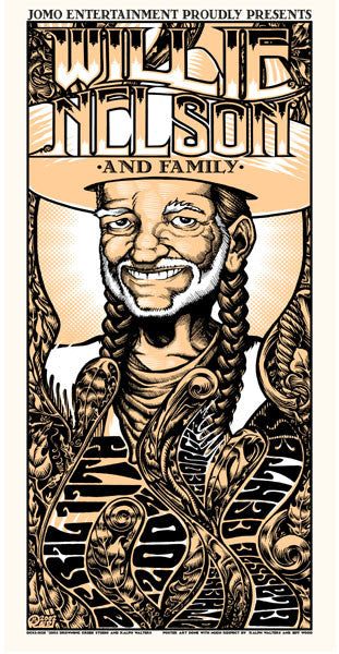 2002 Willie Nelson Athens GA Show Poster - Zen Dragon Gallery
