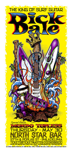 2002 Dick Dale/Mondo Topless Philadelphia Show Poster or Handbill - Zen Dragon Gallery