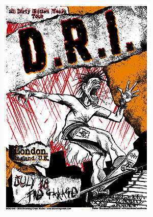 2002 D.R.I. London UK Show Poster - Zen Dragon Gallery