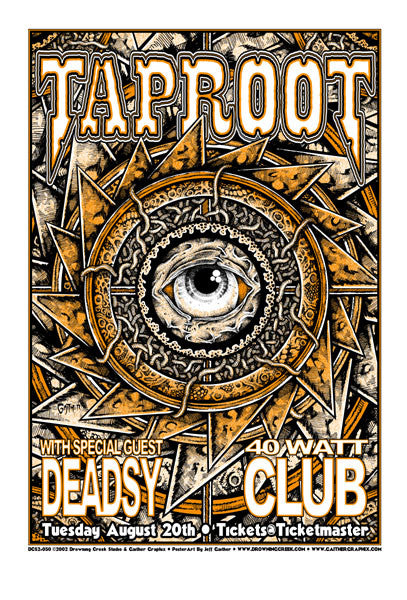 2002 Taproot Deadsy Athens GA Show Poster - Zen Dragon Gallery
