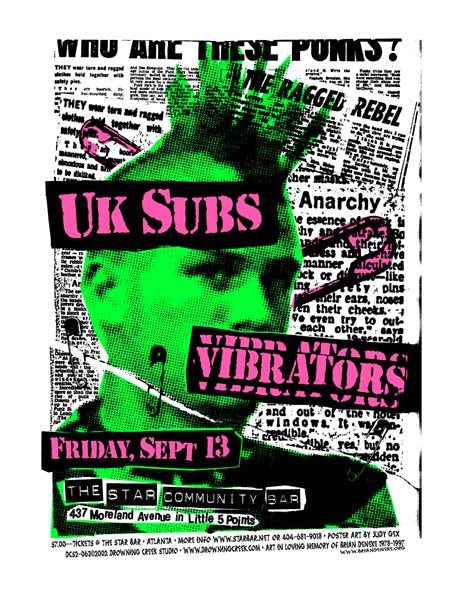2002 UK Subs Atlanta Star Bar Show Poster - Zen Dragon Gallery