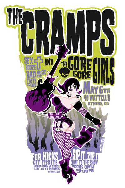 2003 The Cramps/Gore Gore Girls 40 Watt Club Athens Show Poster