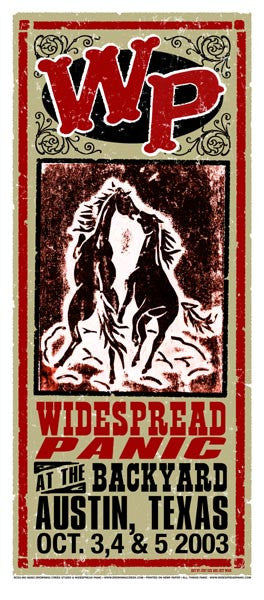 2003 Widespread Panic Austin Backyard Poster or Handbill - Zen Dragon Gallery