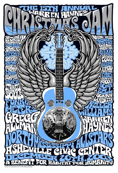 2003 Warren Haynes Christmas Jam Show Poster - Zen Dragon Gallery