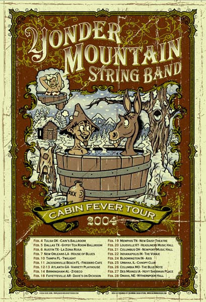 2004 Yonder Mountain String Band Cabin Fever Tour Poster
