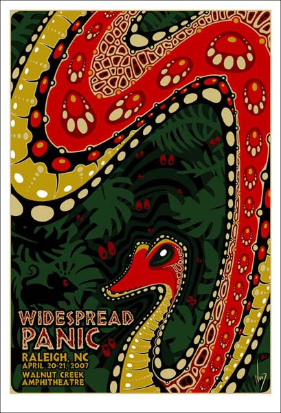 2007 Widespread Panic Walnut Creek Raleigh Show Poster