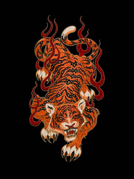 2007 Chinese Fire Tiger Art Print - Zen Dragon Gallery