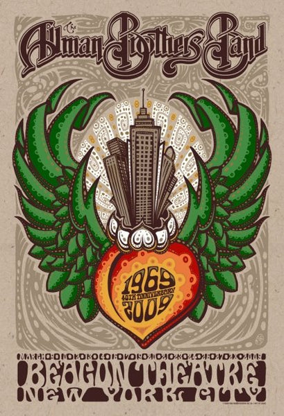 2009 The Allman Brothers NYC Beacon Show Run Poster - Zen Dragon Gallery