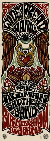 2009 Widespread Panic/The Allman Brothers Birmingham Show Poster - Zen Dragon Gallery