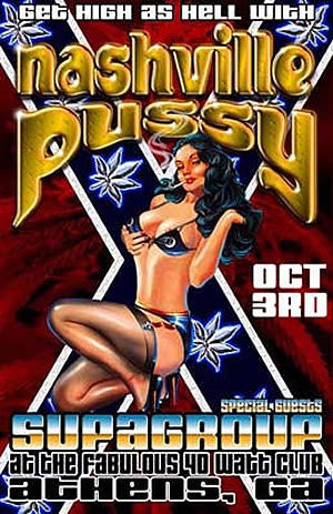 2000 Nashville Pussy Athens 40 Watt Litho Show Poster