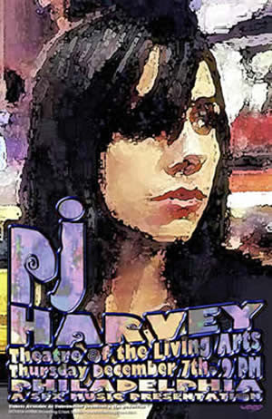 2000 PJ Harvey Philadelphia Litho Show Poster