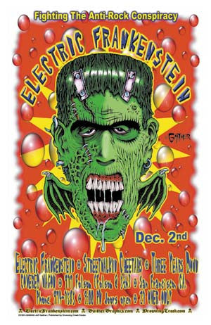 2000 Electric Frankenstein Covered Wagon San Fran Litho Show Poster - Zen Dragon Gallery