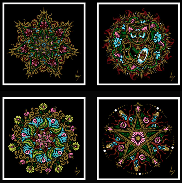 2017 Mini Spring Mandala Art Prints 4 Pc Sets & Singles - Zen Dragon Gallery