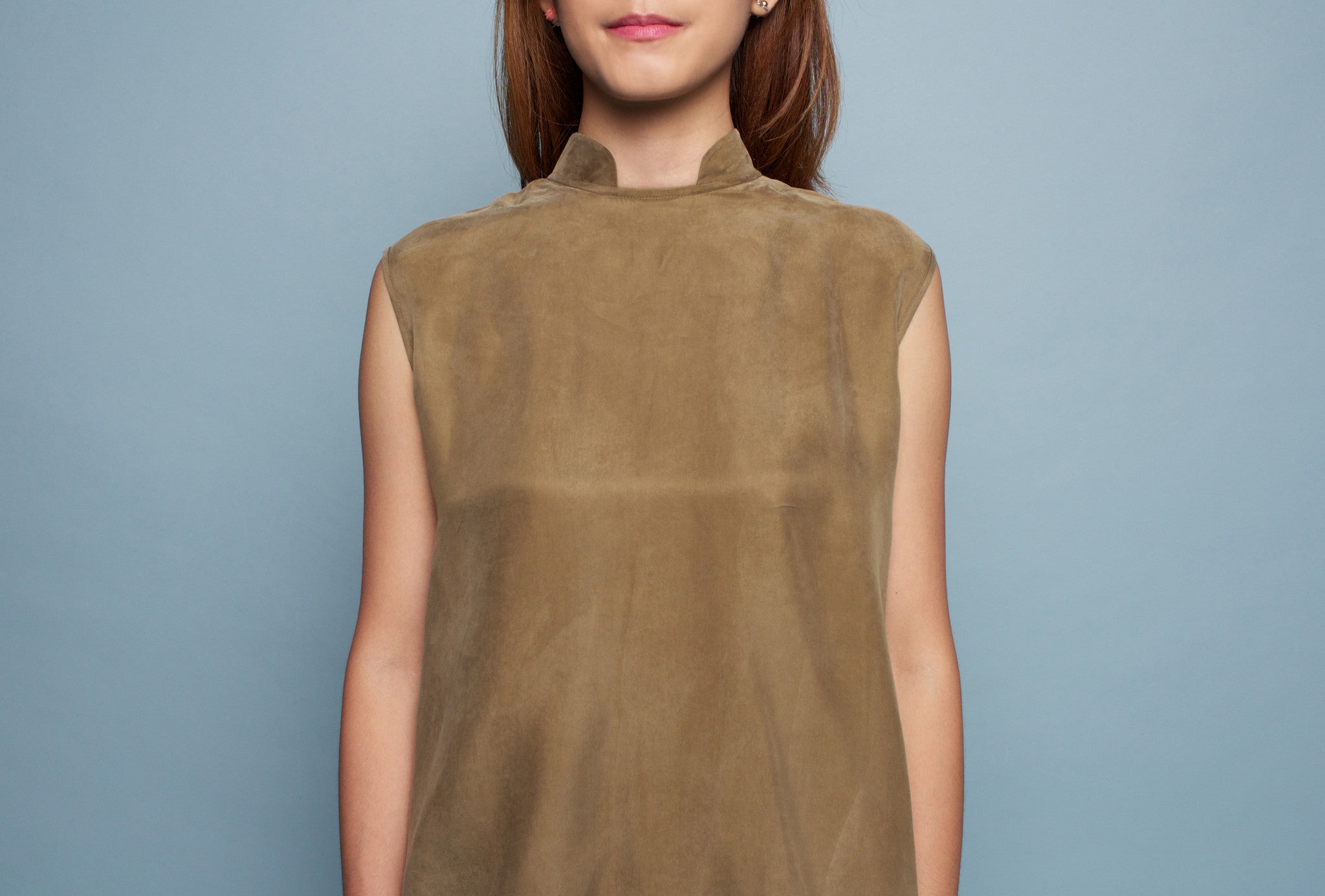 Mandarin Collar Cape top (Olive)