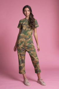 Drop Crotch Jumpsuit (Camou Print)