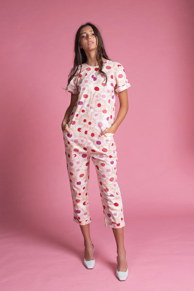Drop Crotch Jumpsuit (Daisy Print)