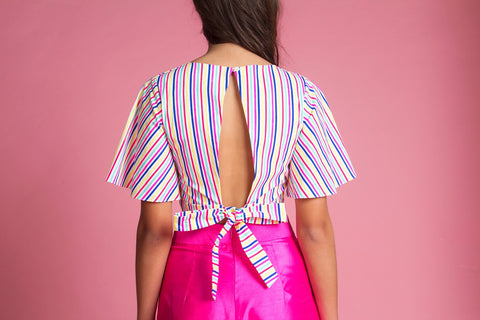 Open Back Crop Top (Acid Stripes)