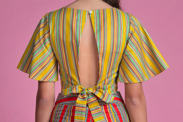 Open Back Crop Top (Mustard Stripes)